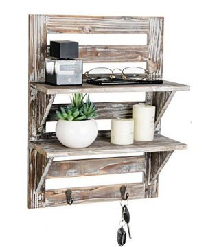 Liry Products Rustic Wooden Wall Mounted Shelves Iron Hooks Two Tier Storage Rack Brown Torched Distressed Wood Display Shelf Organizer Farmhouse Decorative Holder Home Office Kitchen Living Room 0 300x360