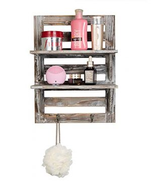 Liry Products Rustic Wooden Wall Mounted Shelves Iron Hooks Two Tier Storage Rack Brown Torched Distressed Wood Display Shelf Organizer Farmhouse Decorative Holder Home Office Kitchen Living Room 0 4 300x360