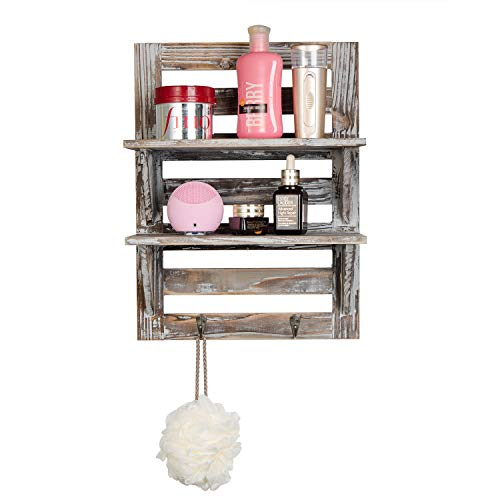 Liry Products Rustic Wooden Wall Mounted Shelves Iron Hooks Two Tier Storage Rack Brown Torched Distressed Wood Display Shelf Organizer Farmhouse Decorative Holder Home Office Kitchen Living Room 0 4