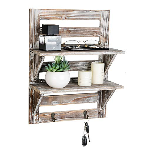 Liry Products Rustic Wooden Wall Mounted Shelves Iron Hooks Two Tier Storage Rack Brown Torched Distressed Wood Display Shelf Organizer Farmhouse Decorative Holder Home Office Kitchen Living Room 0