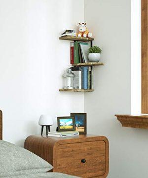 Love KANKEI Corner Shelf Wall Mount Of 3 Tier Rustic Wood Floating Shelves For Bedroom Living Room Bathroom Kitchen Office And More Carbonized Black 0 0 300x360