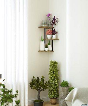 Love KANKEI Corner Shelf Wall Mount Of 3 Tier Rustic Wood Floating Shelves For Bedroom Living Room Bathroom Kitchen Office And More Carbonized Black 0 1 300x360