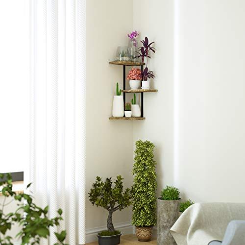 Love KANKEI Corner Shelf Wall Mount Of 3 Tier Rustic Wood Floating Shelves For Bedroom Living Room Bathroom Kitchen Office And More Carbonized Black 0 1