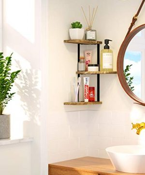 Love KANKEI Corner Shelf Wall Mount Of 3 Tier Rustic Wood Floating Shelves For Bedroom Living Room Bathroom Kitchen Office And More Carbonized Black 0 2 300x360