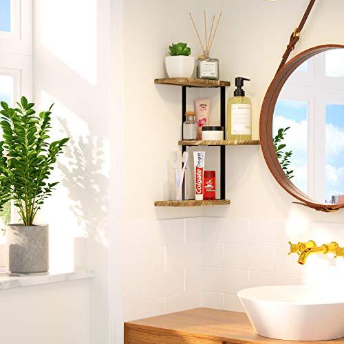 Love KANKEI Corner Shelf Wall Mount Of 3 Tier Rustic Wood Floating Shelves For Bedroom Living Room Bathroom Kitchen Office And More Carbonized Black 0 2