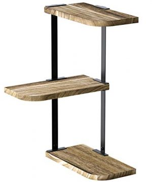 Love KANKEI Corner Shelf Wall Mount Of 3 Tier Rustic Wood Floating Shelves For Bedroom Living Room Bathroom Kitchen Office And More Carbonized Black 0 300x360