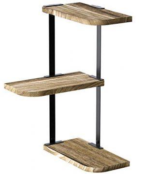 Love KANKEI Corner Shelf Wall Mount Of 3 Tier Rustic Wood Floating Shelves For Bedroom Living Room Bathroom Kitchen Office And More Carbonized Black 0 300x360