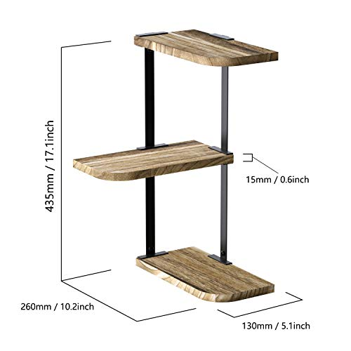 Love KANKEI Corner Shelf Wall Mount Of 3 Tier Rustic Wood Floating Shelves For Bedroom Living Room Bathroom Kitchen Office And More Carbonized Black 0 5