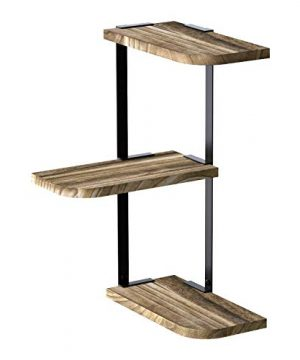 Love KANKEI Corner Shelf Wall Mount Of 3 Tier Rustic Wood Floating Shelves For Bedroom Living Room Bathroom Kitchen Office And More Carbonized Black Renewed 0 300x360