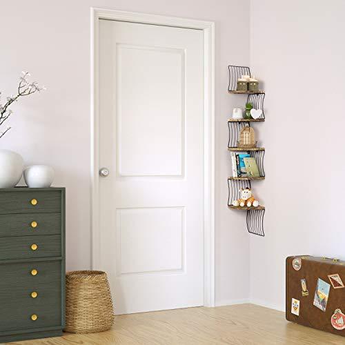 Love KANKEI Corner Shelf Wall Mount Of 5 Tier Rustic Wood Floating Shelves For Bedroom Wall Shelves Living Room Bathroom Kitchen Office And More Carbonized Black 0 1