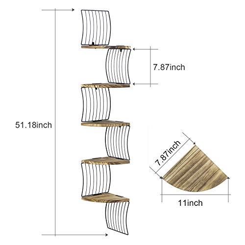Love KANKEI Corner Shelf Wall Mount Of 5 Tier Rustic Wood Floating Shelves For Bedroom Wall Shelves Living Room Bathroom Kitchen Office And More Carbonized Black 0 3