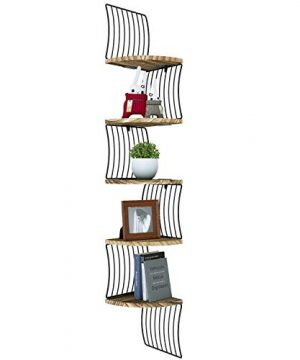 Love KANKEI Corner Shelf Wall Mount Of 5 Tier Rustic Wood Floating Shelves For Bedroom Wall Shelves Living Room Bathroom Kitchen Office And More Carbonized Black 0 300x360