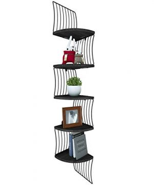 Love KANKEI Corner Shelf Wall Mount Of 5 Tier Rustic Wood Floating Shelves For Bedroom Wall Shelves Living Room Bathroom Kitchen Office And More Weathered Black 0 300x360