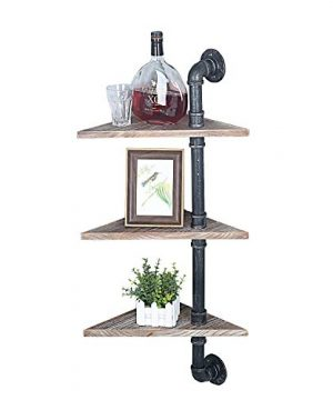 MBQQ Industrial Pipe Corner Shelf Wall MountWood Shelf DecorFloating Shelves Wall Shelf3 Tier Rustic Corner Wall Shelf For Home DecorBathroom ShelfTrophy ShelfCorner ShelvesTriangle Wood Board 0 300x360