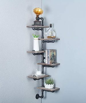 MBQQ Industrial Pipe Shelf6 Tiers Wall Mount Bookshelf MetalWood Corner ShelvesDIY Storage Shelving Rustic Floating ShelvesHome Decor Shelves 0 300x360