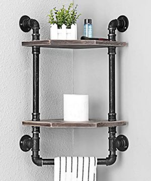 MBQQ Industrial Pipe ShelfRustic Corner Shelves With Towel BarBathroom Shelves Wall Mounted2 Tiered MetalReal Wood Home Decor Floating Shelves 0 0 300x360