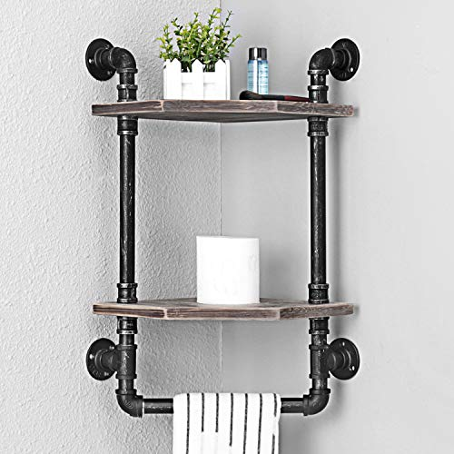 MBQQ Industrial Pipe ShelfRustic Corner Shelves With Towel BarBathroom Shelves Wall Mounted2 Tiered MetalReal Wood Home Decor Floating Shelves 0 0
