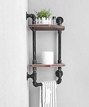 MBQQ Industrial Pipe ShelfRustic Corner Shelves With Towel BarBathroom Shelves Wall Mounted2 Tiered MetalReal Wood Home Decor Floating Shelves 0 1 300x360