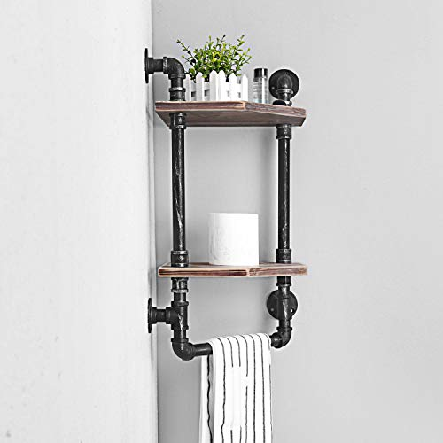 MBQQ Industrial Pipe ShelfRustic Corner Shelves With Towel BarBathroom Shelves Wall Mounted2 Tiered MetalReal Wood Home Decor Floating Shelves 0 1