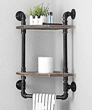 MBQQ Industrial Pipe ShelfRustic Corner Shelves With Towel BarBathroom Shelves Wall Mounted2 Tiered MetalReal Wood Home Decor Floating Shelves 0 2 300x360