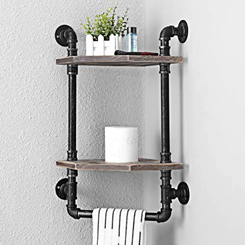 MBQQ Industrial Pipe ShelfRustic Corner Shelves With Towel BarBathroom Shelves Wall Mounted2 Tiered MetalReal Wood Home Decor Floating Shelves 0 2