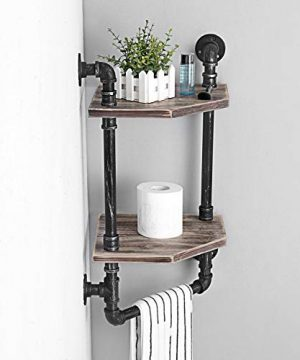 MBQQ Industrial Pipe ShelfRustic Corner Shelves With Towel BarBathroom Shelves Wall Mounted2 Tiered MetalReal Wood Home Decor Floating Shelves 0 3 300x360