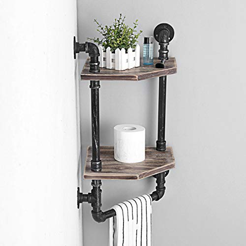 MBQQ Industrial Pipe ShelfRustic Corner Shelves With Towel BarBathroom Shelves Wall Mounted2 Tiered MetalReal Wood Home Decor Floating Shelves 0 3