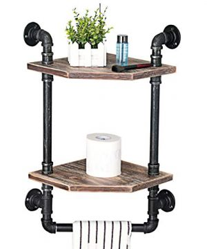 MBQQ Industrial Pipe ShelfRustic Corner Shelves With Towel BarBathroom Shelves Wall Mounted2 Tiered MetalReal Wood Home Decor Floating Shelves 0 300x360