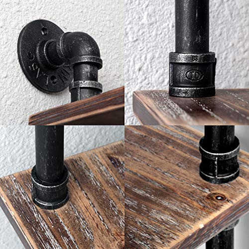 MBQQ Industrial Pipe ShelfRustic Corner Shelves With Towel BarBathroom Shelves Wall Mounted2 Tiered MetalReal Wood Home Decor Floating Shelves 0 4