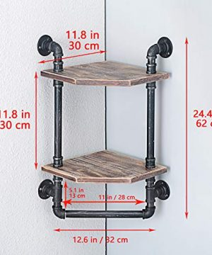 MBQQ Industrial Pipe ShelfRustic Corner Shelves With Towel BarBathroom Shelves Wall Mounted2 Tiered MetalReal Wood Home Decor Floating Shelves 0 5 300x360