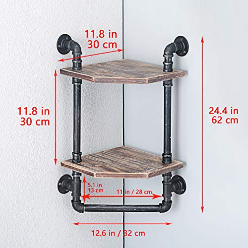 MBQQ Industrial Pipe ShelfRustic Corner Shelves With Towel BarBathroom Shelves Wall Mounted2 Tiered MetalReal Wood Home Decor Floating Shelves 0 5