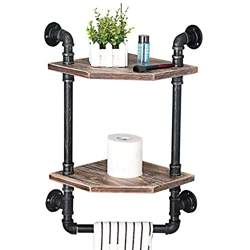 MBQQ Industrial Pipe ShelfRustic Corner Shelves With Towel BarBathroom Shelves Wall Mounted2 Tiered MetalReal Wood Home Decor Floating Shelves 0