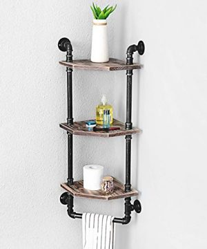 MBQQ Industrial Pipe ShelfRustic Corner Shelves With Towel BarBathroom Shelves Wall Mounted3 Tiered MetalReal Wood Home Decor Floating Shelves 0 0 300x360