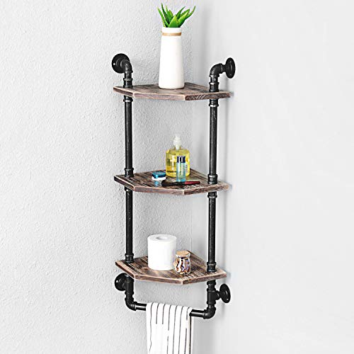 MBQQ Industrial Pipe ShelfRustic Corner Shelves With Towel BarBathroom Shelves Wall Mounted3 Tiered MetalReal Wood Home Decor Floating Shelves 0 0