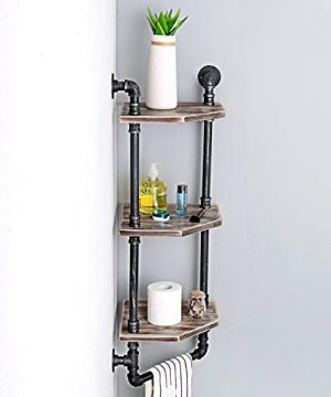 MBQQ Industrial Pipe ShelfRustic Corner Shelves With Towel BarBathroom Shelves Wall Mounted3 Tiered MetalReal Wood Home Decor Floating Shelves 0 1 300x360