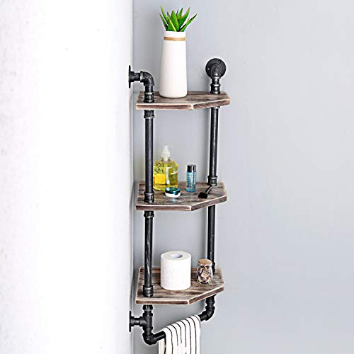 MBQQ Industrial Pipe ShelfRustic Corner Shelves With Towel BarBathroom Shelves Wall Mounted3 Tiered MetalReal Wood Home Decor Floating Shelves 0 1