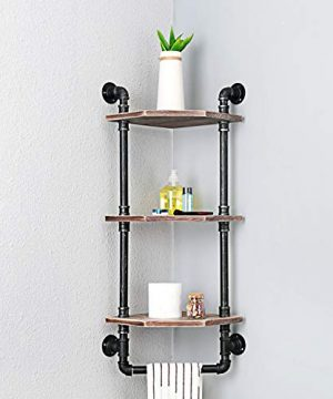 MBQQ Industrial Pipe ShelfRustic Corner Shelves With Towel BarBathroom Shelves Wall Mounted3 Tiered MetalReal Wood Home Decor Floating Shelves 0 2 300x360
