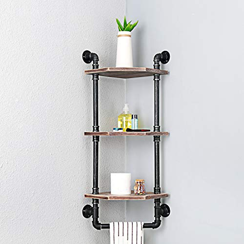 MBQQ Industrial Pipe ShelfRustic Corner Shelves With Towel BarBathroom Shelves Wall Mounted3 Tiered MetalReal Wood Home Decor Floating Shelves 0 2