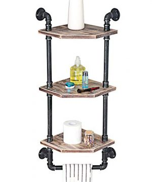 MBQQ Industrial Pipe ShelfRustic Corner Shelves With Towel BarBathroom Shelves Wall Mounted3 Tiered MetalReal Wood Home Decor Floating Shelves 0 300x360