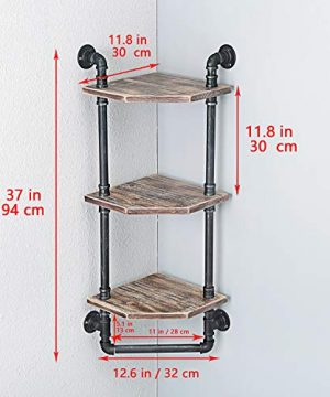 MBQQ Industrial Pipe ShelfRustic Corner Shelves With Towel BarBathroom Shelves Wall Mounted3 Tiered MetalReal Wood Home Decor Floating Shelves 0 4 300x360