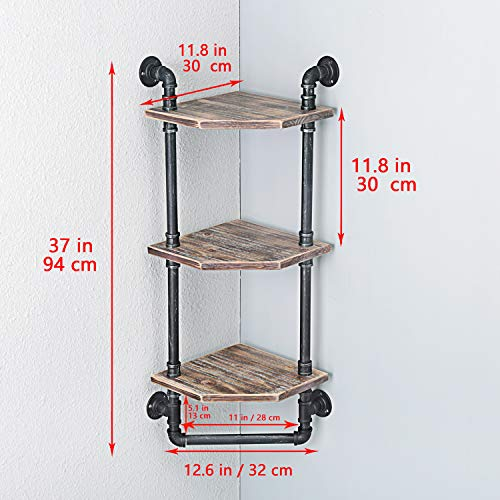MBQQ Industrial Pipe ShelfRustic Corner Shelves With Towel BarBathroom Shelves Wall Mounted3 Tiered MetalReal Wood Home Decor Floating Shelves 0 4