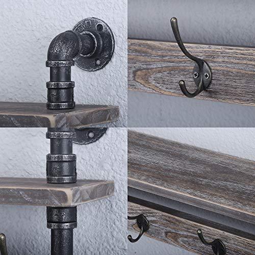 MBQQ Industrial Pipe Wall Coat Rack Entryway Wall Shelf Hanging Shelf Real Wooden Shelves And 4 Metal HooksRustic Coat Rack Wall Mounted For HallwayBathroomLivingn RoomBedroom24 Inch 0 3