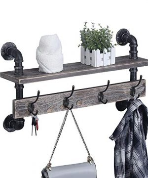 MBQQ Industrial Pipe Wall Coat Rack Entryway Wall Shelf Hanging Shelf Real Wooden Shelves And 4 Metal HooksRustic Coat Rack Wall Mounted For HallwayBathroomLivingn RoomBedroom24 Inch 0 300x360