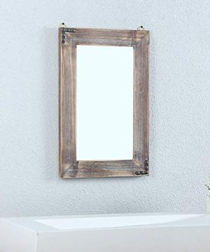 MBQQ Rustic Flat Wood Frame Hanging Wall Mirror Decorative Bathroom Mirrors For Wall Vanity Mirror Makeup Mirror16 X 24 0 2 300x360