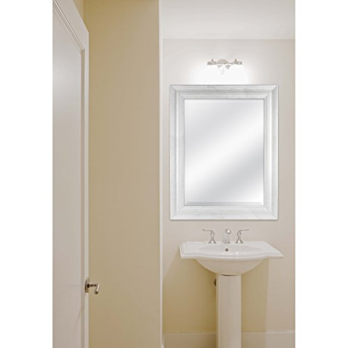 MCS 18 By 24 Inch Scoop Mirror 235 By 295 Inch Outside Dimension White Wash Finish 20547 235 X 295 Inch 0 2