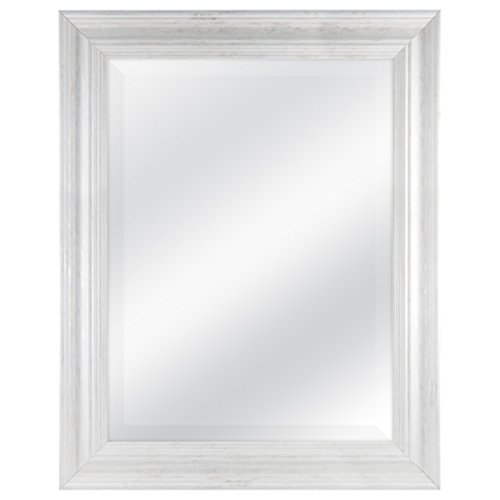 MCS 18 By 24 Inch Scoop Mirror 235 By 295 Inch Outside Dimension White Wash Finish 20547 235 X 295 Inch 0