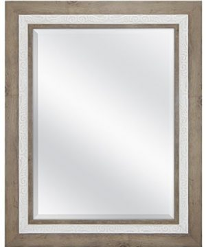 MCS 18x24 Inch Beveled Wall Mirror 245x305 Inch Overall Size Rustic Wood And Embossed Whitewash Finish 0 300x360