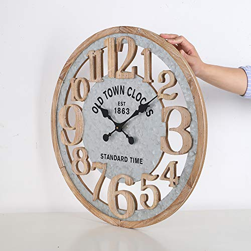 Mode Home 24 Galvanized Wall Clock With Large Numbers For Living Room Farmhouse Wood Wall Clock Laser Cut Vintage Kitchen Clock Silent No Ticking Mechanism Unique Wall Clock Rustic Wall Decor Farmhouse Goals