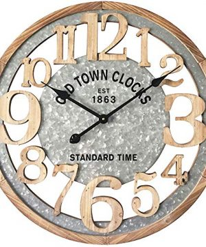 MODE HOME 24 Large Numbers Wall Clock Wood Wall Clock Laser Cut Vintage Clock Silent No Ticking Mechanism Unique Wall Clock Modern Rustic Wall Decor 0 300x360