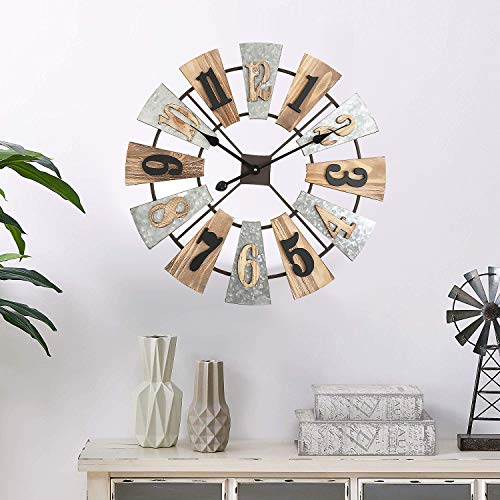 MODE HOME 24 Metal And Wood Windmill Wall Clocks Decorative 3D Vintage Clock Farmhouse Decor 0 1